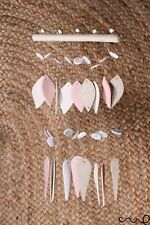 NEW Handmade Garden Hanging Ceramic Windchime Pink Stone Gift Home Deco 12O17D