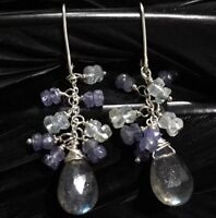 "PRETTY ESTATE STERLING SILVER LABRADORITE & IOLITE DANGLE EARRINGS 1 13/16"" LONG"