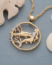 Mermaid & Dolphins Coin Pendant & Necklace. Hand cut. 1-1/8 diameter ( # 638 )