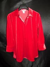 Joan Vass S NWT Red Velvet Relaxed Shirt V Neck Tunic Long Sleeve NEW Party Sm