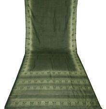 Vintage Green Saree Floral Printed Pure Silk Indian Cultural Dress Wrap Sari 5Yd