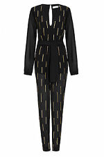 Sass & Bide Apollos Reign Black & Gold Silk Jumpsuit Womens 4 (36) *NEW* $650