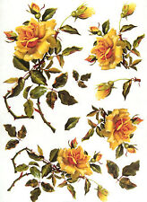Rice Paper for Decoupage Scrapbooking Sheet Craft Vintag Yellow Roses