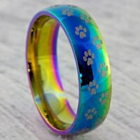 6mm Dog Paw Print Stainless Steel Ring - Mens Womens Rainbow Wedding Band - H-Z4