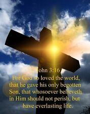 "God's Salvation John 3:16 Art Print 8""x 10"" Christian Love Cross Photo 36"