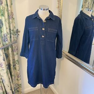 Phase Eight Size 10 denim giant button shift dress pocket front 3/4 sleeves
