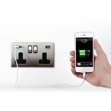 Area 2 Gang USB Wall Socket / Plug Brushed Chrome Finish Screwless 3.1A Total