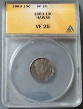 1883 SILVER HAWAII 10 CENTS ANACS VERY FINE 25