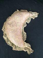 AntiqUe French Tambour Lace 16� Silk Moon Shape Boudoir Pillow Pink Rose