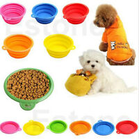 Cute Dog Cat Portable Silicone Collapsible Travel Feeding Bowl Water Dish Feeder