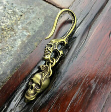 Solid Brass Vintage Key Chain Ring Skull Lizard Fob Clip S Belt Bag Wallet Hook