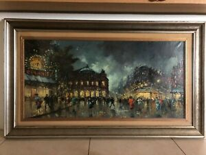 Dipinto,Quadro,Opera d'Arte,Painting artist Antonio De Vity Paris street scene