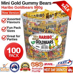HARIBO 100 x Minibags Gold Bears Goldbears 980g Box Assort Fruit Made in Germany