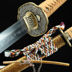 Traditional Japanese Samurai Sword High Qulaity Clay Tempered Katana Brass Tsuba