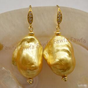 Gold Yellow 14-19mm Natural South Sea Reborn Baroque Pearl Hook Dangle Earrings