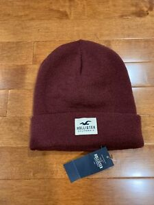 NWT HOLLISTER Beanie Hat Maroon Soft Ribbed Cap Unisex Knit One Size Fits All