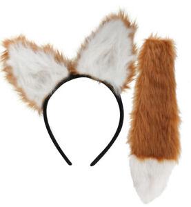 Fuchs-Set 2-tlg Haarreif mit Ohren Fuchsschwanz Tierkostüm Accessoire Karneval