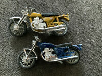 (2) Blue & Gold Yamaha TX 750 Motorcycle Toy Diecast & Plastic