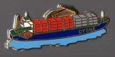 pin's bateau conteneur - le cygne de la CMN (signé Arthus Bertrand)