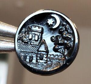 """Antique Button…Black Glass Castle Under Moon & Star….5/8"""""""