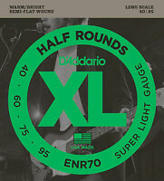 D'ADDARIO ENR70 HALF ROUNDS BASS STRINGS, SUPER LIGHT GAUGE 4's  - 40 - 95