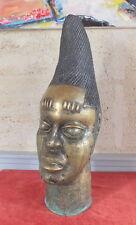 SCULPTURE GRANDE TETE D'AFRICAIN LAITON ANCIEN STATUE