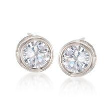 6mm  1.5tcw Bezel Basket Clear Diamonique CZ Stud Earrings Real 14K White Gold