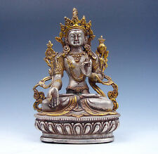 Vintage Tibetan Silver Plated Gold Gilt Tibetan LARGE *WHITE TARA* Buddha Statue