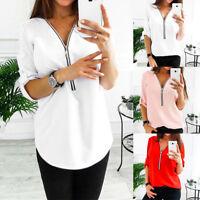 Fashion Women V-Neck Zipper Chiffon Shirt Long Sleeve Loose Blouse Casual Tops