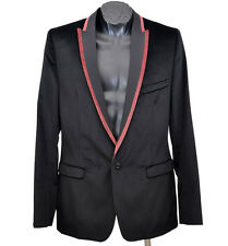 NEW DOLCE & GABBANA D&G BLACK VELVET BLAZER JACKET WITH RED TRIM  52 - 42
