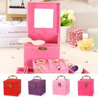 Jewelry Mirror Box Storage Organizer Ring Earring Necklace Display Case Holder