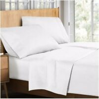 """100% SATIN EGYPTIAN COTTON 400 THREAD COUNTS EXTRA DEEP FITTED SHEET WHITE 16"""""""