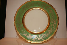 Vintage Hutschenreuther Dinner Plate Gold Flowers & Scrolls on Green HUT540A