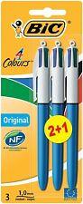 BIC 4 Colours Original Ballpoint Pen Assorted Colour Pack 3 blue black red green