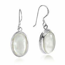 Simply Elegant Oval Mother of Pearl Inlay on Sterling Silver Dangle Earrings