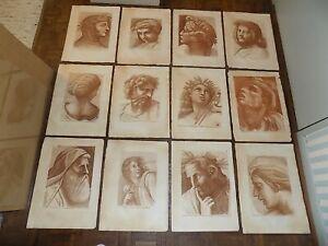 Large Antique 18th Century Sepia Etchings - Raphael - Elephant Folio - Set of 12