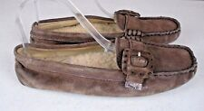 UGG Thelma 1681 Brown Suede Moccasin Sheepskin Slippers Women's Size: 7.5