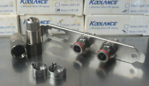 Koolance VL2 Quick Disconnect Low-Spill Coupling with L-Bracket ID 06mm (1/4in)