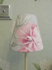 Handmade Candle Lampshade Laura Ashley Beatrice Dove Grey & Cyclamen Fabric