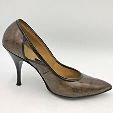 Vintage 1960s Galaxies Brown Marbled Patent Leather Cutout Heels size 9.5 B3
