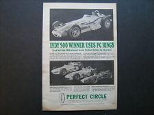 1964 Perfect Circle Indy 500 Winners AJ Foyt, Roger Ward, Lloyd Ruby vintage ad
