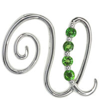 Chrome Diopside Letter U Gemstone Pendant Sterling Silver + Chain