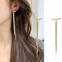 Luxury Gold Long Thread Tassel Drop Dangle Earrings Geometric Women Jewelry New