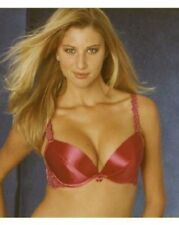 Bra 34C RED  Push Up Removable with inserts Underwire Satin  RRP £23  Splendour