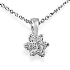 "0.25 Ct Round Diamond Women's Cluster Pendant Necklace 14k White Gold G VS1 16"""