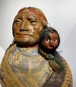 """14""""Indian Papoose Skookum Native American Doll Indian Doll Great Example Early"""