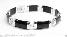 Natural Black Agate 925 Sterling Silver Fortune Clasp Link Bracelet