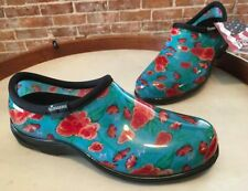 Sloggers Turquoise Floral Waterproof Garden Comfort Shoes 9 New USA Made