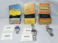 LOT 3 FOSSIL MENS WATCHES BLUE AM3612 AM3625 AM3971 Stainless Steel Watch