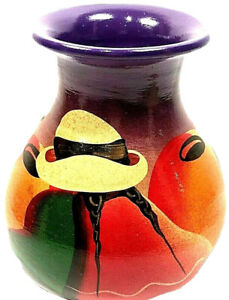 Mexican Art Pottery Vase Hand Painted Hombre Sombrero Siesta Southwest PANCHO